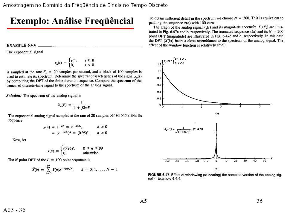 A536 Amostragem no Domínio da Freqüência de Sinais no Tempo Discreto Exemplo: Análise Freqüêncial A05 - 36