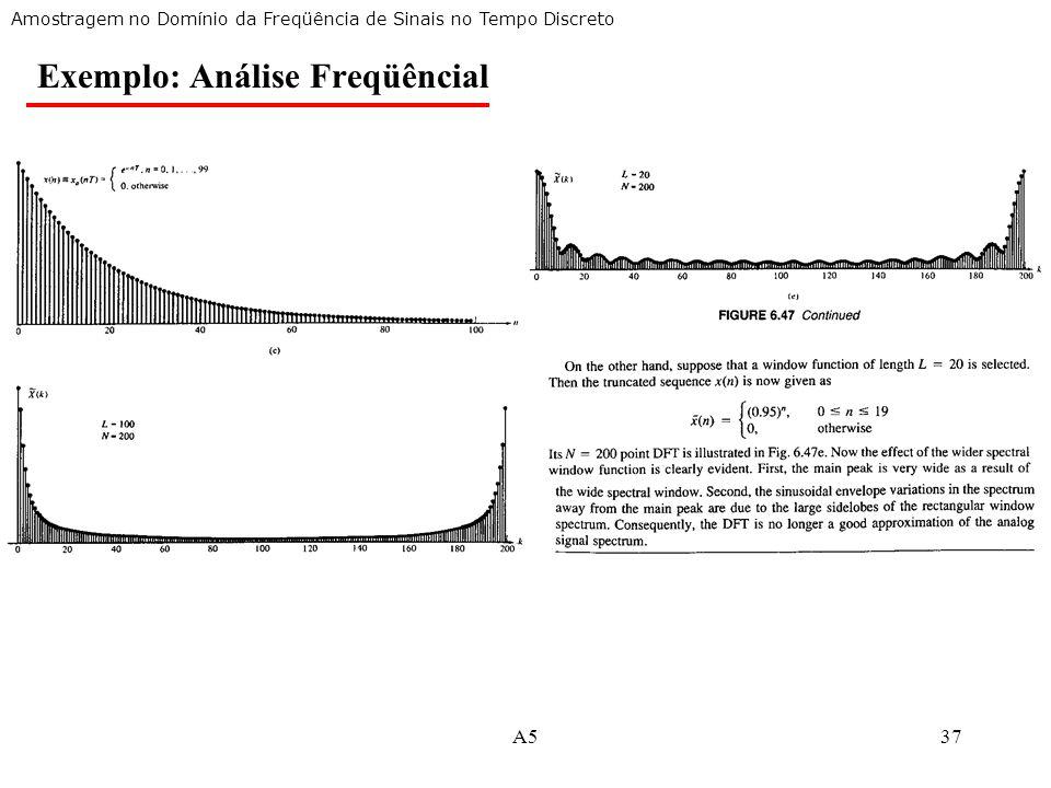 A537 Amostragem no Domínio da Freqüência de Sinais no Tempo Discreto Exemplo: Análise Freqüêncial
