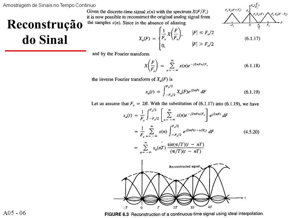 A527 Exemplo de DFT com N pontos (cont.) Amostragem no Domínio da Freqüência de Sinais no Tempo Discreto A05 - 27