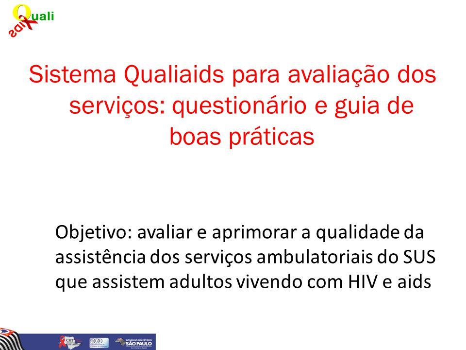 Sistema Qualiaids para avaliação dos serviços: questionário e guia de boas práticas Objetivo: avaliar e aprimorar a qualidade da assistência dos servi