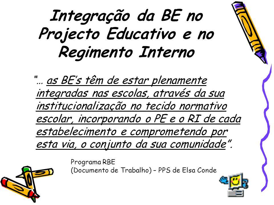 Integração da BE no Projecto Educativo e no Regimento Interno … as BEs têm de estar plenamente integradas nas escolas, através da sua institucionaliza