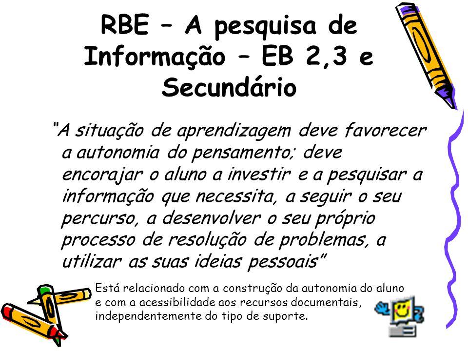 RBE – A pesquisa de Informação – EB 2,3 e Secundário A situação de aprendizagem deve favorecer a autonomia do pensamento; deve encorajar o aluno a inv