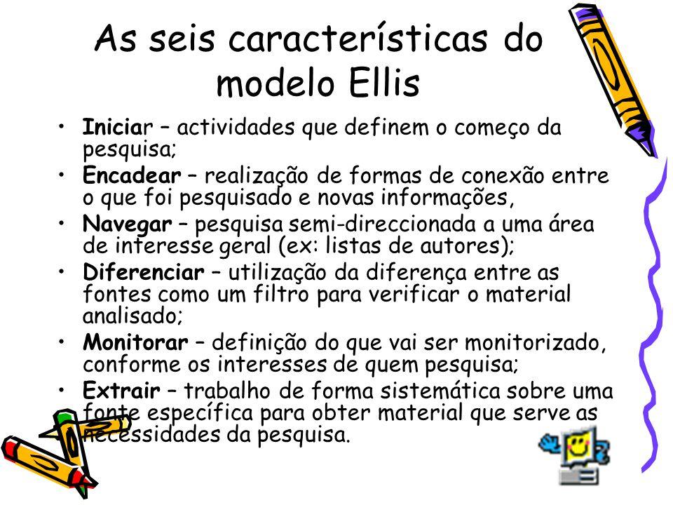 As seis características do modelo Ellis Iniciar – actividades que definem o começo da pesquisa; Encadear – realização de formas de conexão entre o que