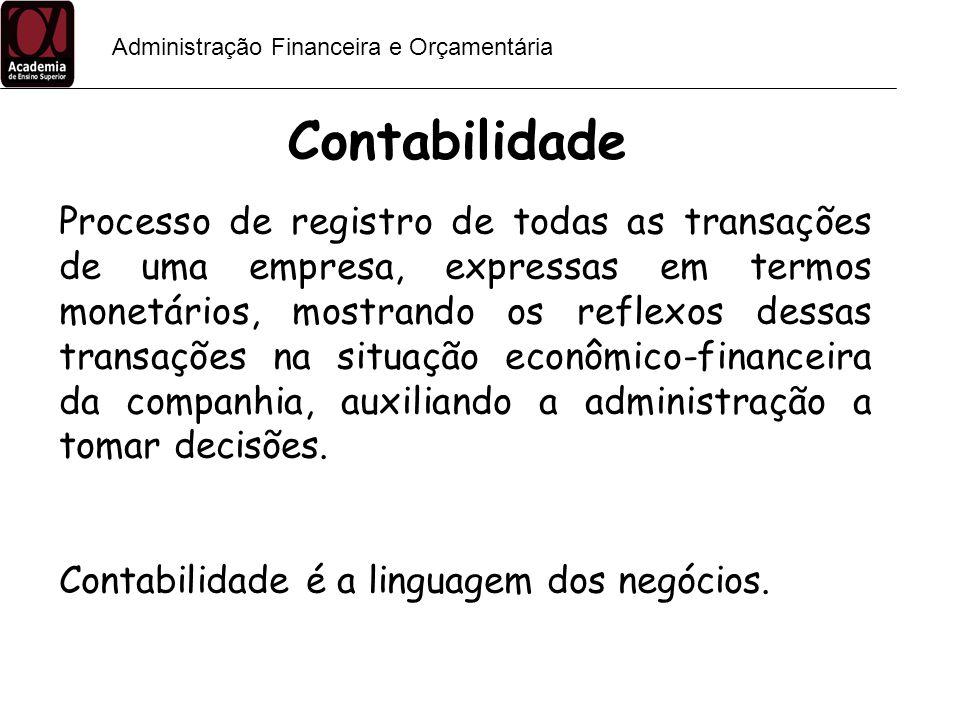 Administração Financeira e Orçamentária Contabilidade irreal Dados não confiáveis Apenas atender necessidades fiscais X Relatórios contábeis norteiam as decisões Importância da Contabilidade para a Tomada de Decisão