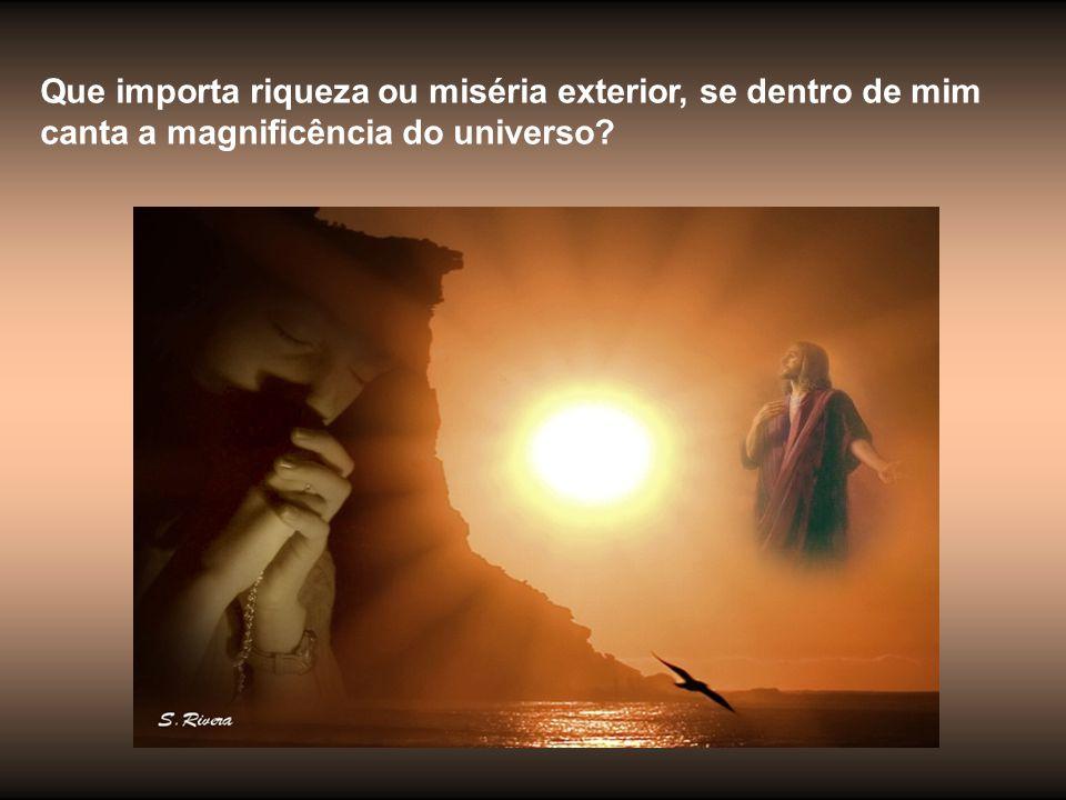 Que importa riqueza ou miséria exterior, se dentro de mim canta a magnificência do universo?