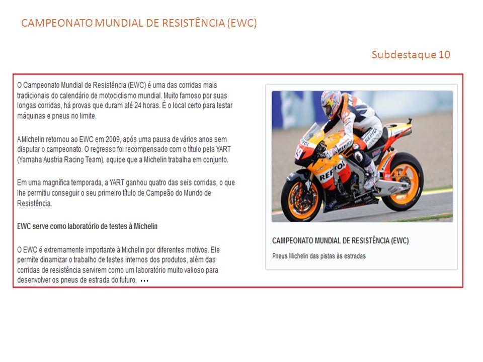 ... Subdestaque 10 CAMPEONATO MUNDIAL DE RESISTÊNCIA (EWC)