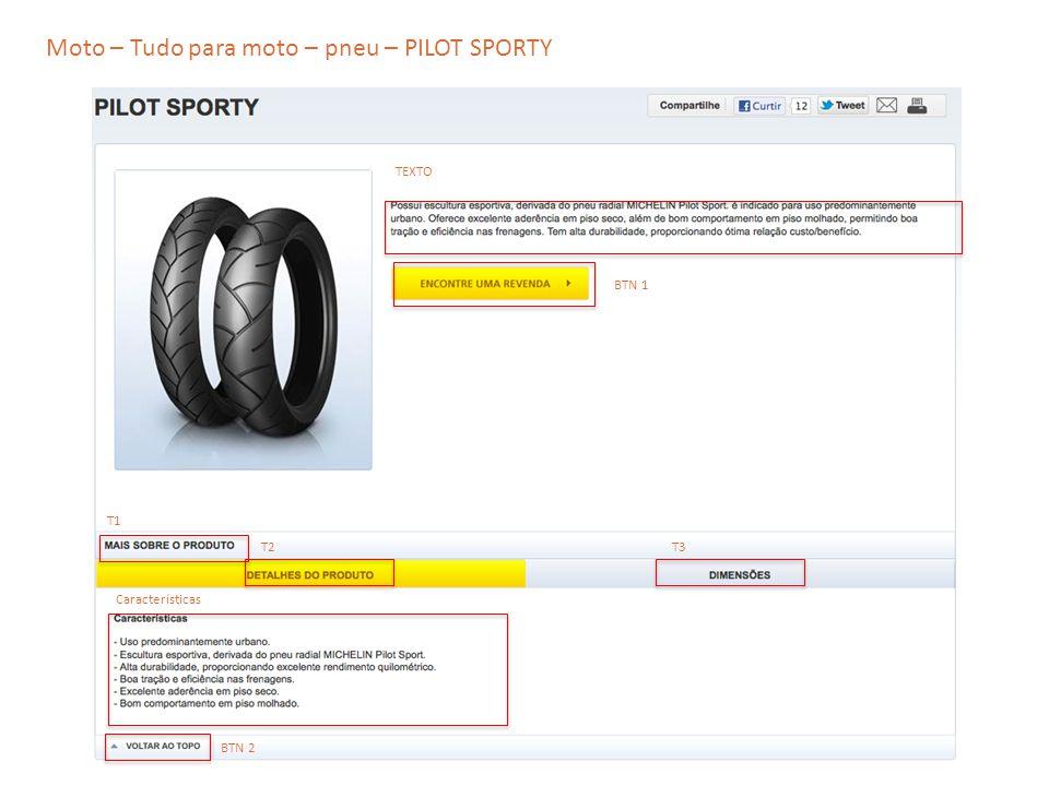 Moto – Tudo para moto – pneu – PILOT SPORTY TEXTO T2 T1 T3 Características BTN 1 BTN 2