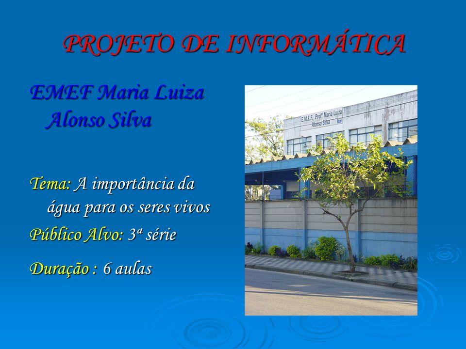 PROJETO DE INFORMÁTICA EMEF Maria Luiza Alonso Silva Tema: A importância da água para os seres vivos Público Alvo: 3ª série Duração : 6 aulas