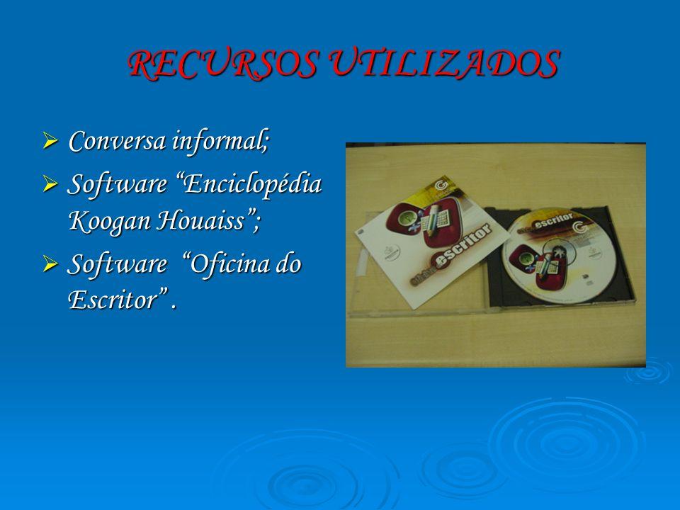 RECURSOS UTILIZADOS Conversa informal; Conversa informal; Software Enciclopédia Koogan Houaiss; Software Enciclopédia Koogan Houaiss; Software Oficina