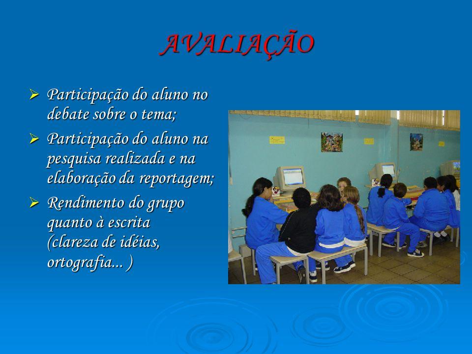 AVALIAÇÃO Participação do aluno no debate sobre o tema; Participação do aluno no debate sobre o tema; Participação do aluno na pesquisa realizada e na