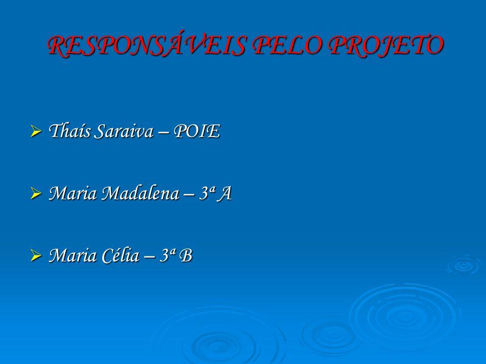 RESPONSÁVEIS PELO PROJETO Thaís Saraiva – POIE Thaís Saraiva – POIE Maria Madalena – 3ª A Maria Madalena – 3ª A Maria Célia – 3ª B Maria Célia – 3ª B