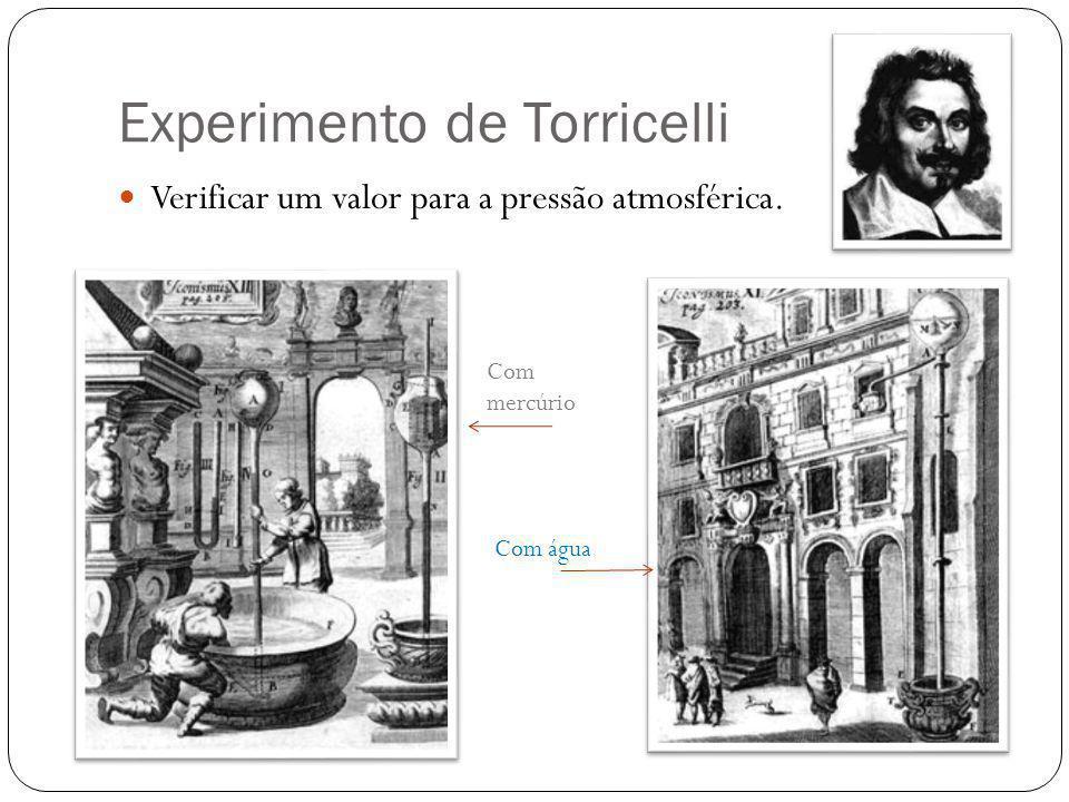 Experimento de Torricelli Verificar um valor para a pressão atmosférica. Com mercúrio Com água