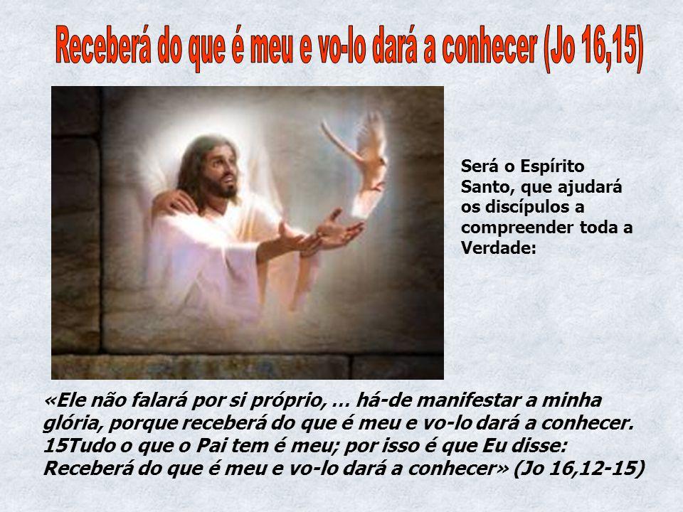 «Ele não falará por si próprio, … há-de manifestar a minha glória, porque receberá do que é meu e vo-lo dará a conhecer. 15Tudo o que o Pai tem é meu;