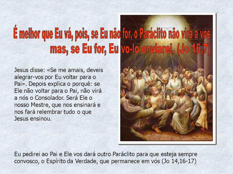 Jesus disse: «Se me amais, deveis alegrar-vos por Eu voltar para o Pai». Depois explica o porquê: se Ele não voltar para o Pai, não virá a nós o Conso