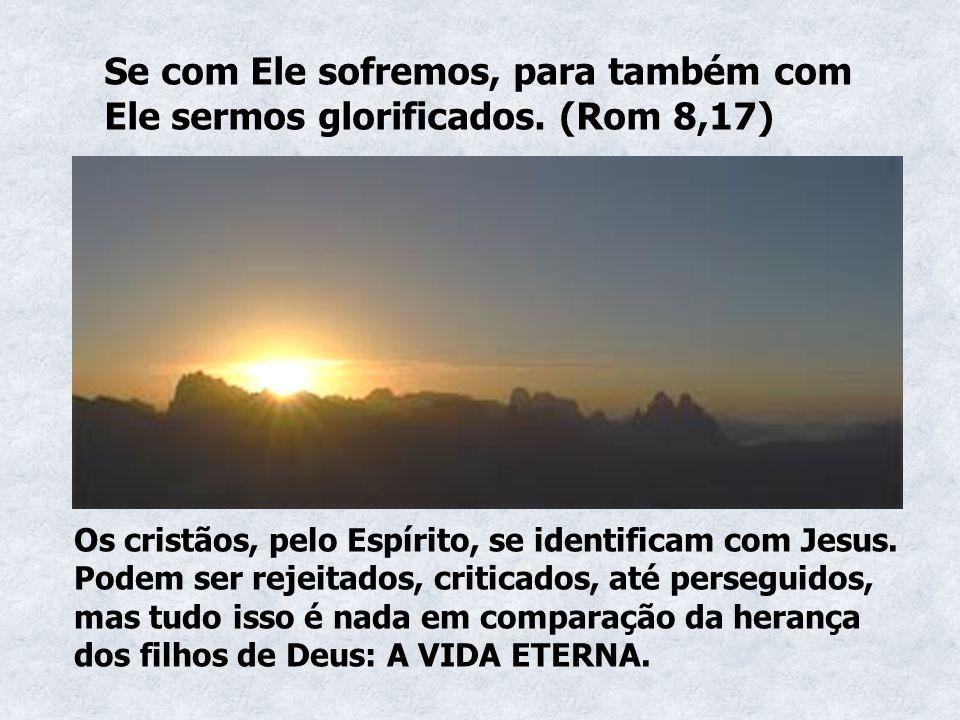 Se com Ele sofremos, para também com Ele sermos glorificados. (Rom 8,17) Os cristãos, pelo Espírito, se identificam com Jesus. Podem ser rejeitados, c