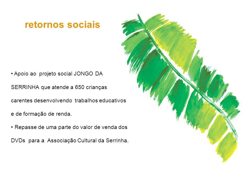 Apoio ao projeto social JONGO DA SERRINHA que atende a 650 crianças carentes desenvolvendo trabalhos educativos e de formação de renda. Repasse de uma