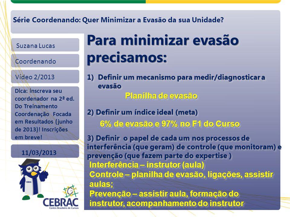 Suzana Lucas Coordenando Vídeo 2/2013 11/03/2013 Série Coordenando: Quer Minimizar a Evasão da sua Unidade? Para minimizar evasão precisamos: 1)Defini