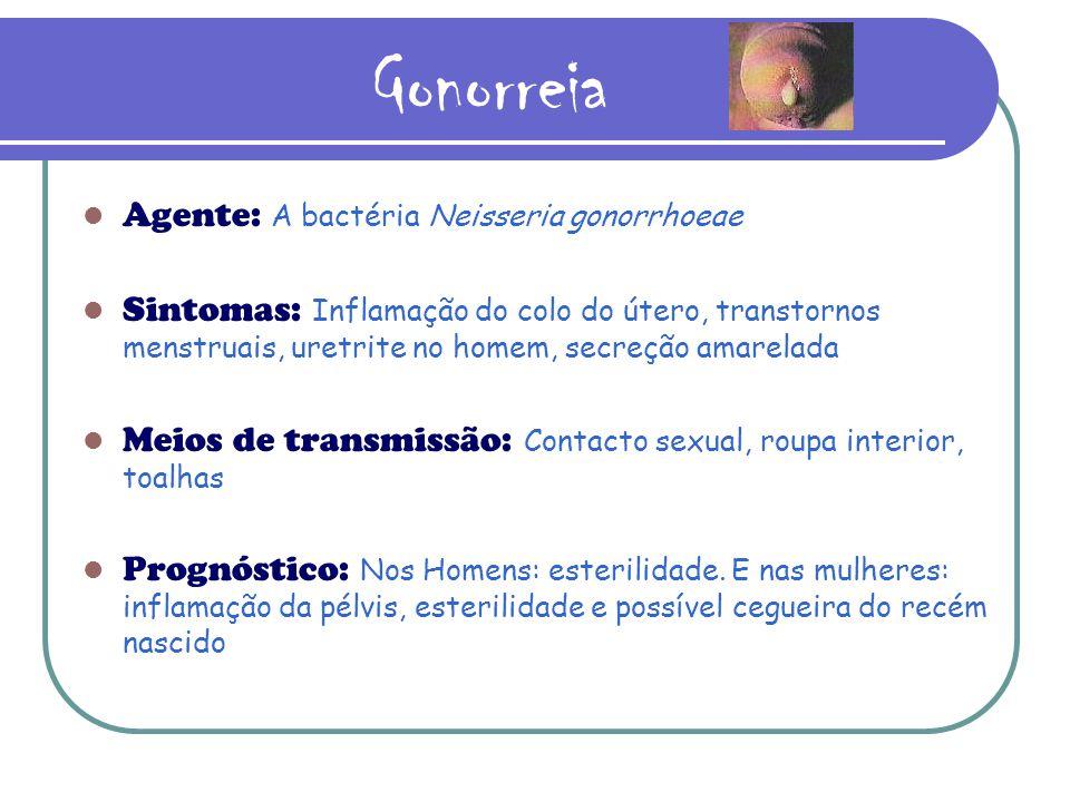 Gonorreia Agente: A bactéria Neisseria gonorrhoeae Sintomas: Inflamação do colo do útero, transtornos menstruais, uretrite no homem, secreção amarelada Meios de transmissão: Contacto sexual, roupa interior, toalhas Prognóstico: Nos Homens: esterilidade.