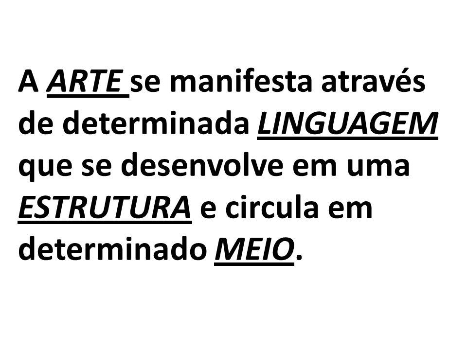 A ARTE se manifesta através de determinada LINGUAGEM que se desenvolve em uma ESTRUTURA e circula em determinado MEIO.