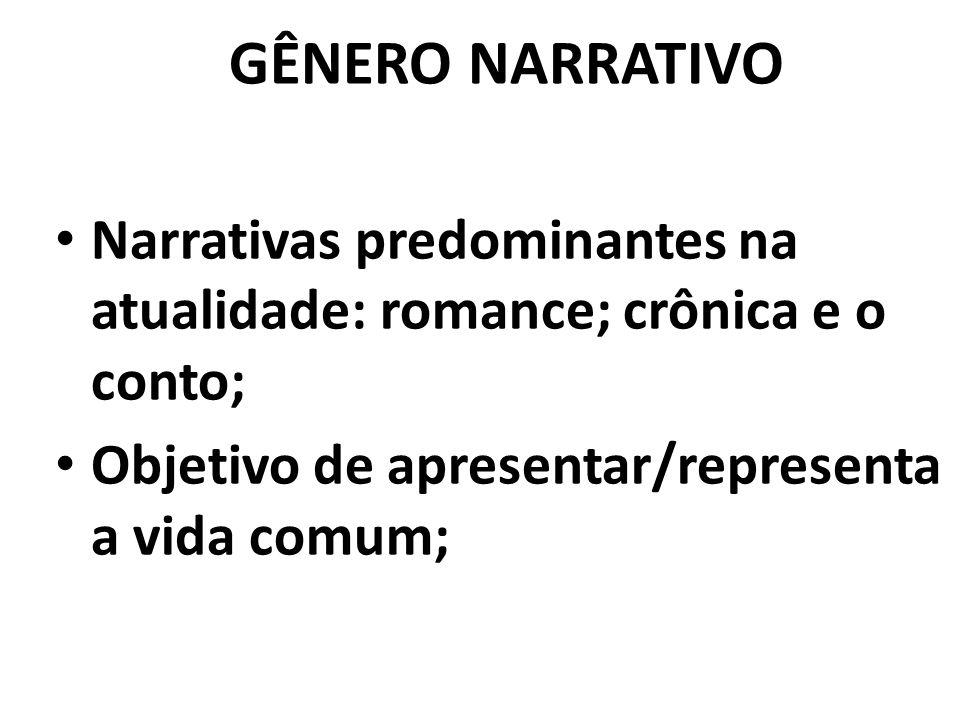 GÊNERO NARRATIVO Narrativas predominantes na atualidade: romance; crônica e o conto; Objetivo de apresentar/representa a vida comum;