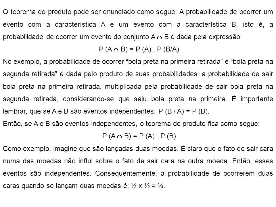 O teorema do produto pode ser enunciado como segue: A probabilidade de ocorrer um evento com a característica A e um evento com a característica B, isto é, a probabilidade de ocorrer um evento do conjunto A B é dada pela expressão: P (A B) = P (A).