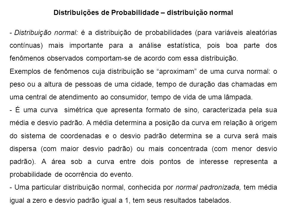 Distribuições de Probabilidade – distribuição normal - Distribuição normal: é a distribuição de probabilidades (para variáveis aleatórias contínuas) mais importante para a análise estatística, pois boa parte dos fenômenos observados comportam-se de acordo com essa distribuição.