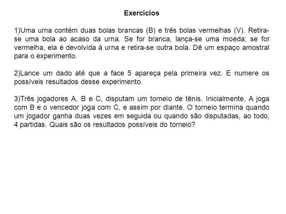 Exercícios 1)Uma urna contém duas bolas brancas (B) e três bolas vermelhas (V).