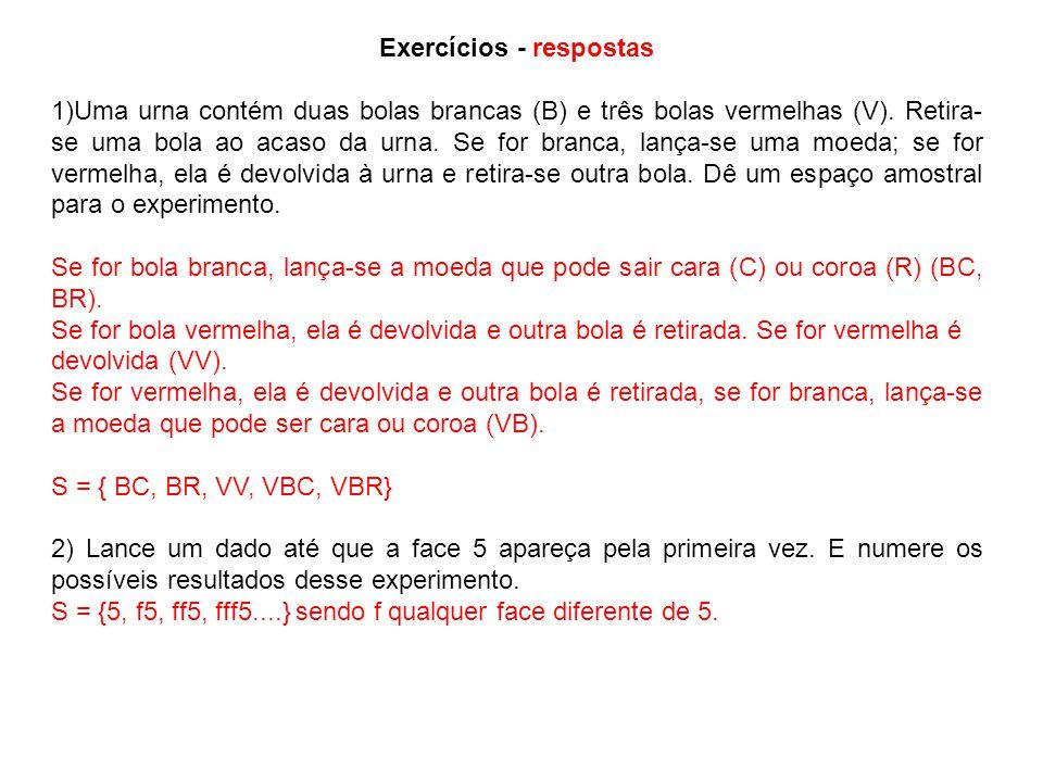 Exercícios - respostas 1)Uma urna contém duas bolas brancas (B) e três bolas vermelhas (V).