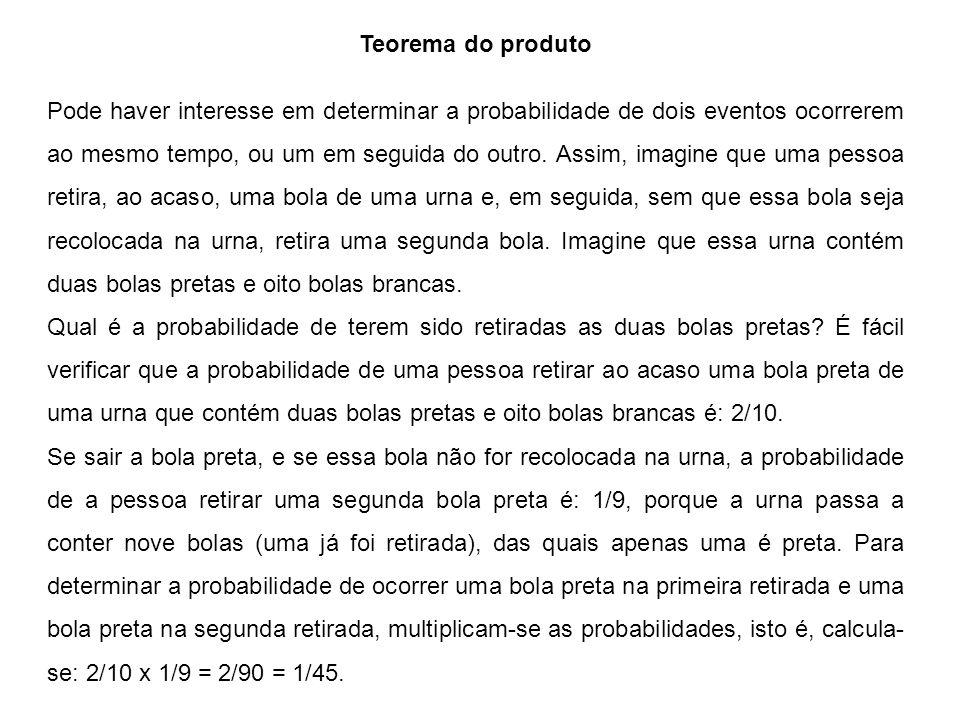 Teorema do produto Pode haver interesse em determinar a probabilidade de dois eventos ocorrerem ao mesmo tempo, ou um em seguida do outro.