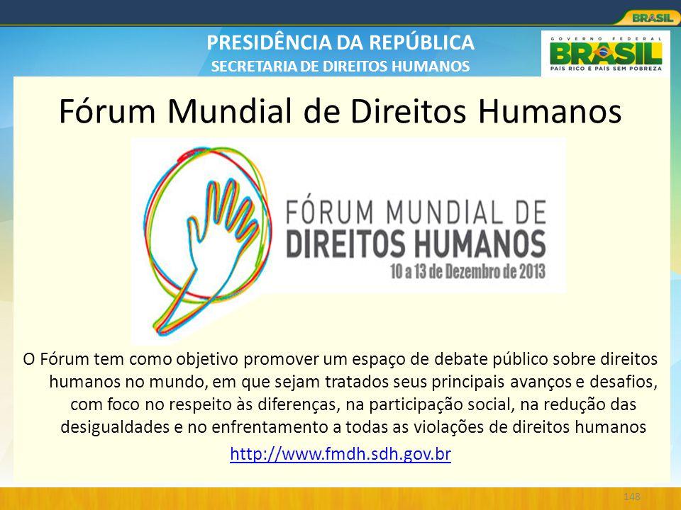 PRESIDÊNCIA DA REPÚBLICA SECRETARIA DE DIREITOS HUMANOS Fórum Mundial de Direitos Humanos. O Fórum tem como objetivo promover um espaço de debate públ