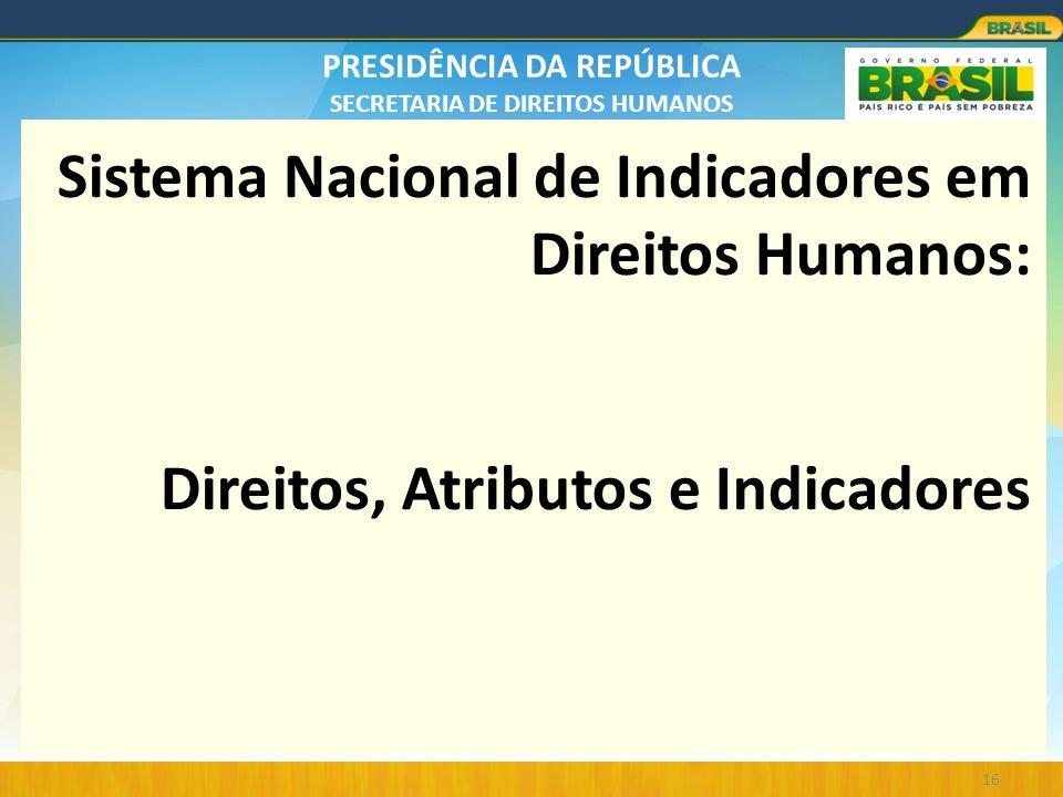 PRESIDÊNCIA DA REPÚBLICA SECRETARIA DE DIREITOS HUMANOS Sistema Nacional de Indicadores em Direitos Humanos: Direitos, Atributos e Indicadores 16