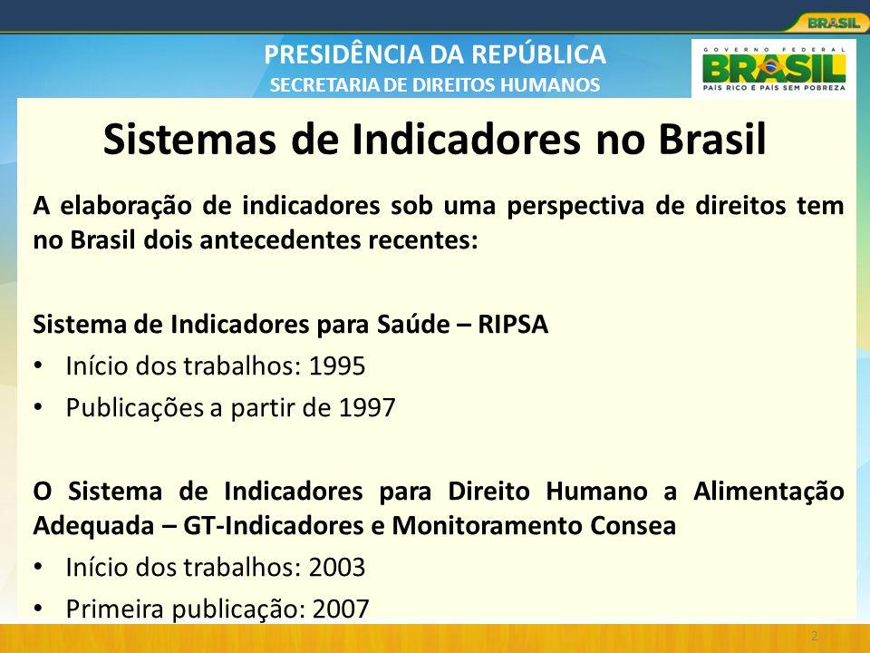 PRESIDÊNCIA DA REPÚBLICA SECRETARIA DE DIREITOS HUMANOS Sistemas de Indicadores no Brasil A elaboração de indicadores sob uma perspectiva de direitos