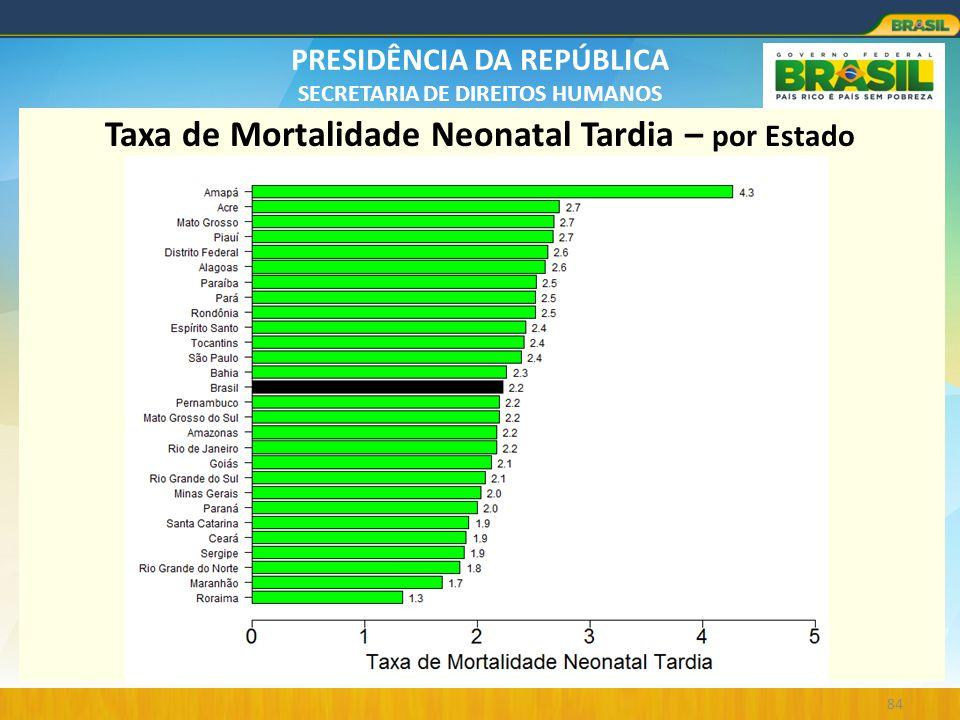 PRESIDÊNCIA DA REPÚBLICA SECRETARIA DE DIREITOS HUMANOS 84 Taxa de Mortalidade Neonatal Tardia – por Estado