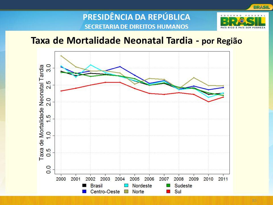 PRESIDÊNCIA DA REPÚBLICA SECRETARIA DE DIREITOS HUMANOS 85 Taxa de Mortalidade Neonatal Tardia - por Região