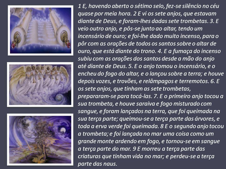 Capítulos 8.10-13 – O espetáculo vai continuar O anúncio dos sete anjos com suas trombetas começa a se descortinar; 1º anjo: 1/3 da terra sofre com o clima; 2º anjo: 1/3 do mar sofre com a devastação; 3º anjo: 1/3 dos rios sofre com a poluição, (absinto quer dizer amargura); 4º anjo: 1/3 da luz se apaga (sol, lua e estrelas).