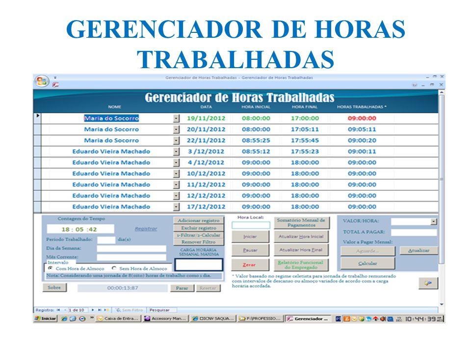 GERENCIADOR DE HORAS TRABALHADAS