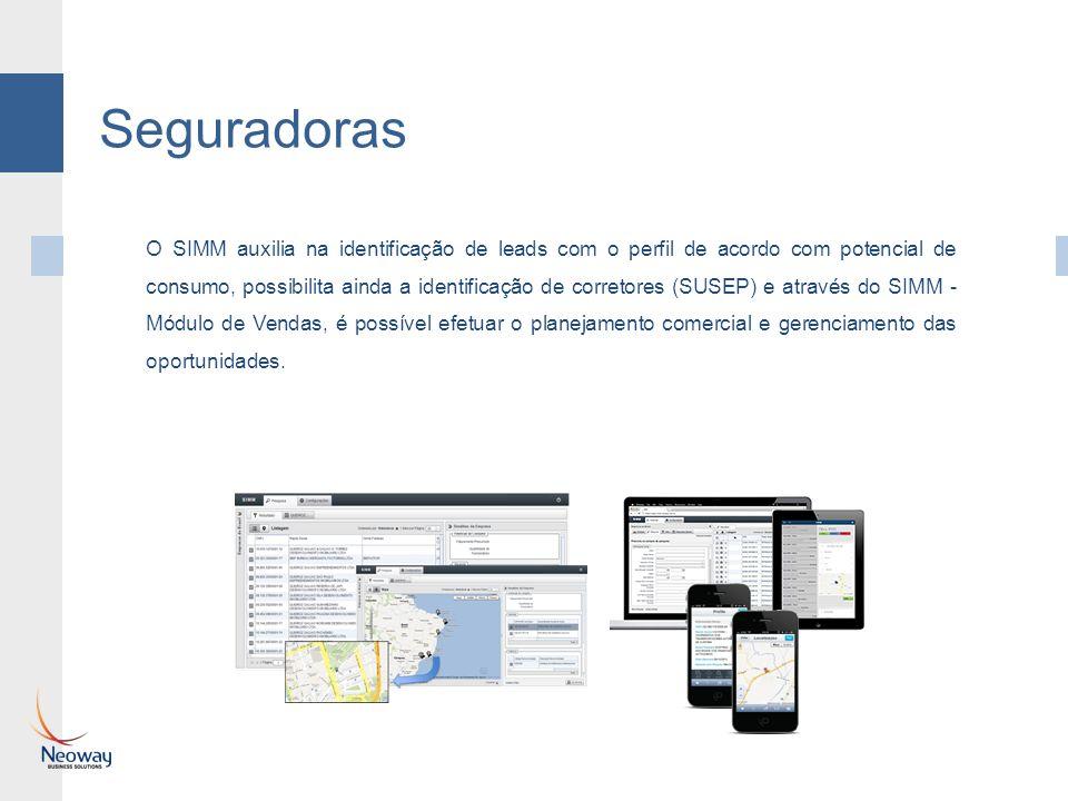 Seguradoras O SIMM auxilia na identificação de leads com o perfil de acordo com potencial de consumo, possibilita ainda a identificação de corretores