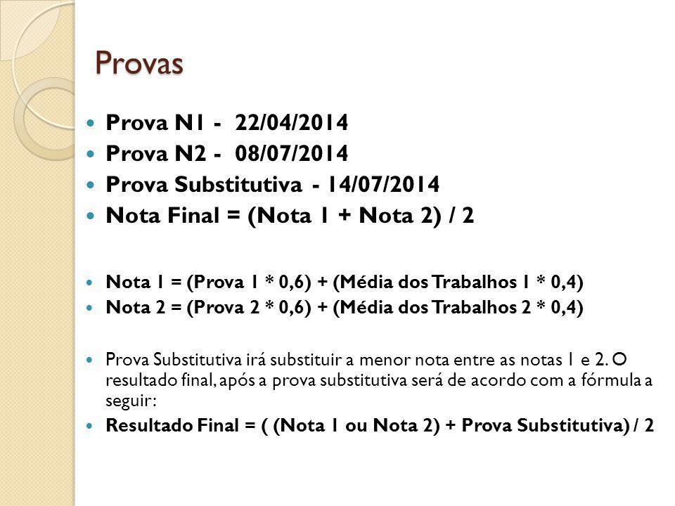 Provas Prova N1 - 22/04/2014 Prova N2 - 08/07/2014 Prova Substitutiva - 14/07/2014 Nota Final = (Nota 1 + Nota 2) / 2 Nota 1 = (Prova 1 * 0,6) + (Médi