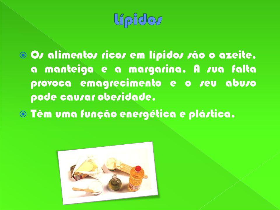 Os alimentos ricos em lípidos são o azeite, a manteiga e a margarina.