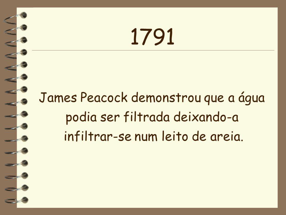 James Peacock demonstrou que a água podia ser filtrada deixando-a infiltrar-se num leito de areia. 1791