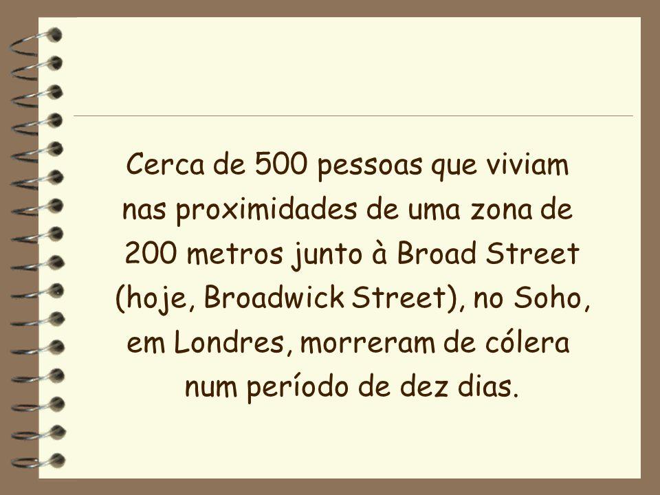 Cerca de 500 pessoas que viviam nas proximidades de uma zona de 200 metros junto à Broad Street (hoje, Broadwick Street), no Soho, em Londres, morrera