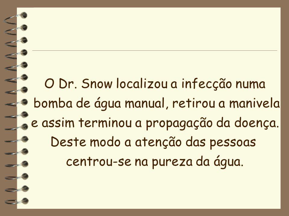 O Dr. Snow localizou a infecção numa bomba de água manual, retirou a manivela e assim terminou a propagação da doença. Deste modo a atenção das pessoa