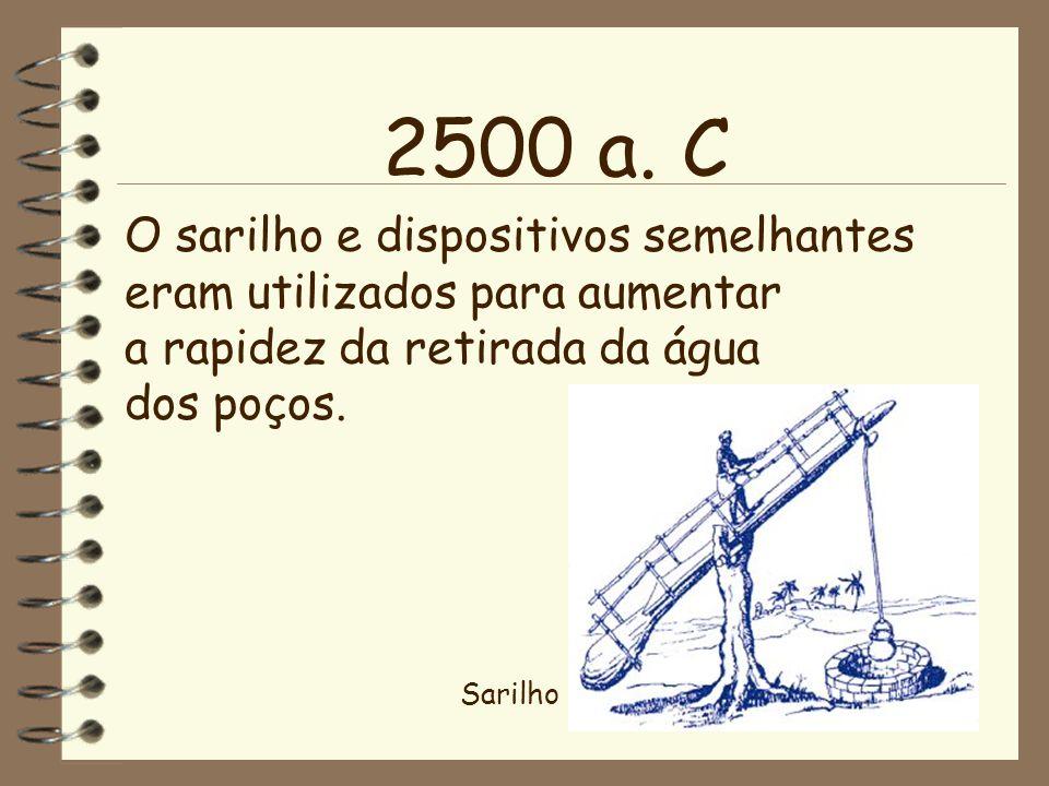 O sarilho e dispositivos semelhantes eram utilizados para aumentar a rapidez da retirada da água dos poços. 2500 a. C Sarilho