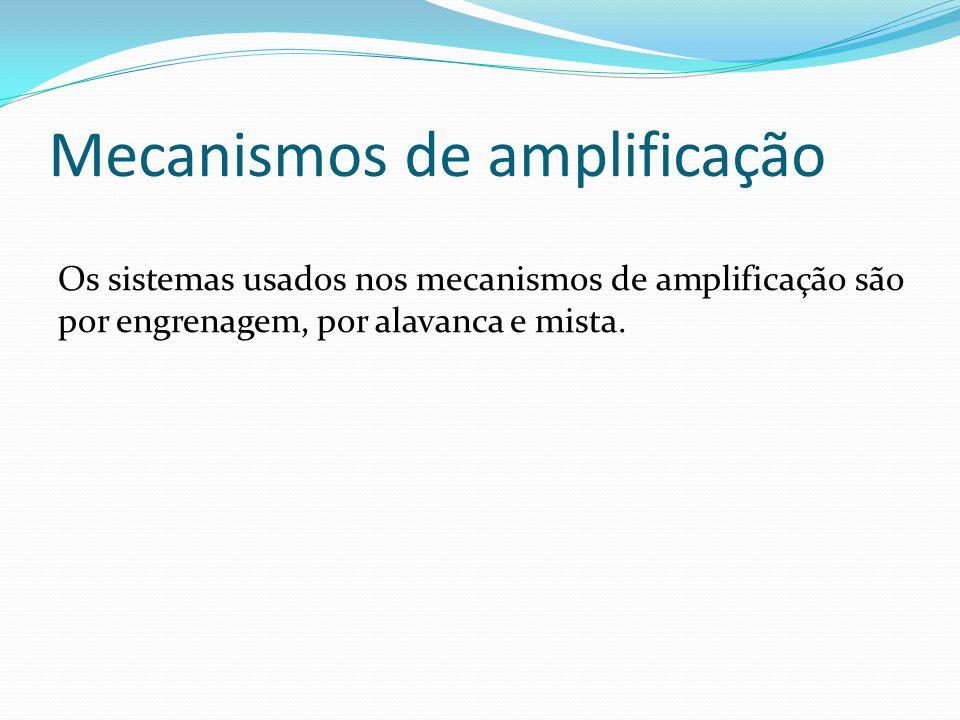 Mecanismos de amplificação Os sistemas usados nos mecanismos de amplificação são por engrenagem, por alavanca e mista.