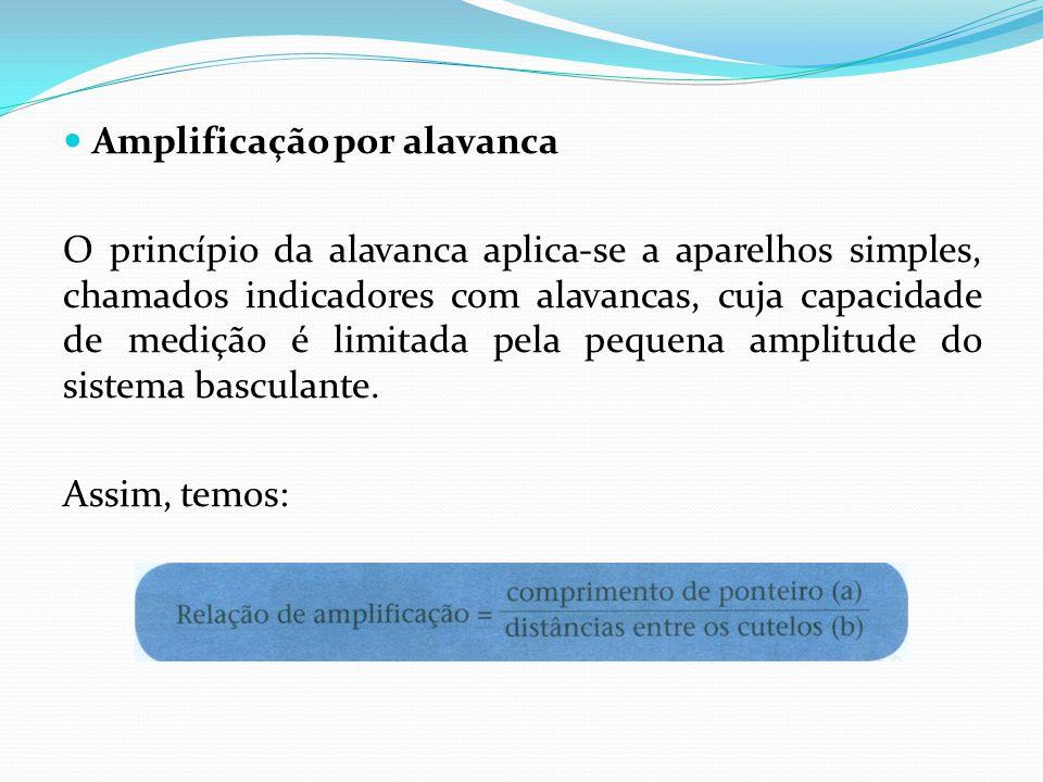 Amplificação por alavanca O princípio da alavanca aplica-se a aparelhos simples, chamados indicadores com alavancas, cuja capacidade de medição é limitada pela pequena amplitude do sistema basculante.