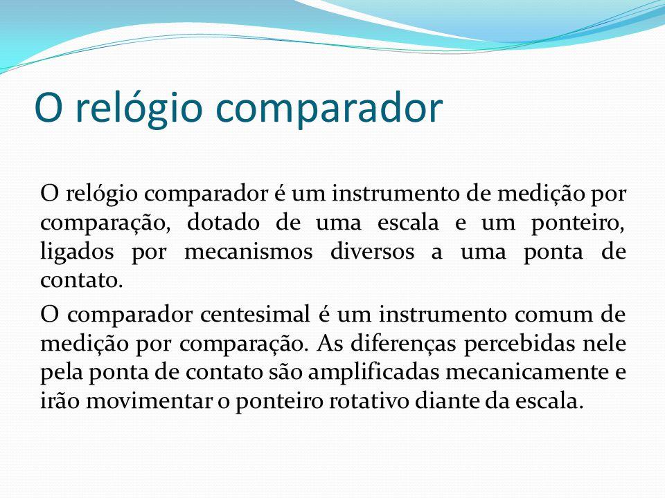 O relógio comparador O relógio comparador é um instrumento de medição por comparação, dotado de uma escala e um ponteiro, ligados por mecanismos diversos a uma ponta de contato.