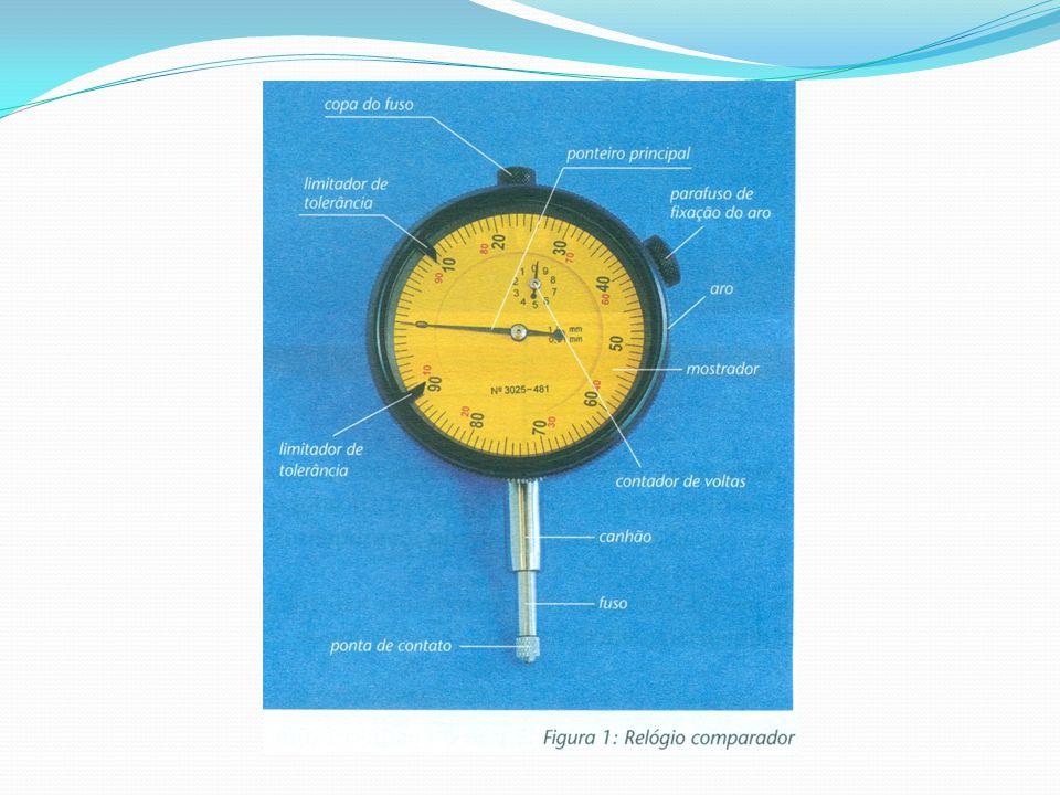 Em alguns modelos, a escala dos relógios se apresenta perpendicularmente em relação a ponta de contato (vertical).