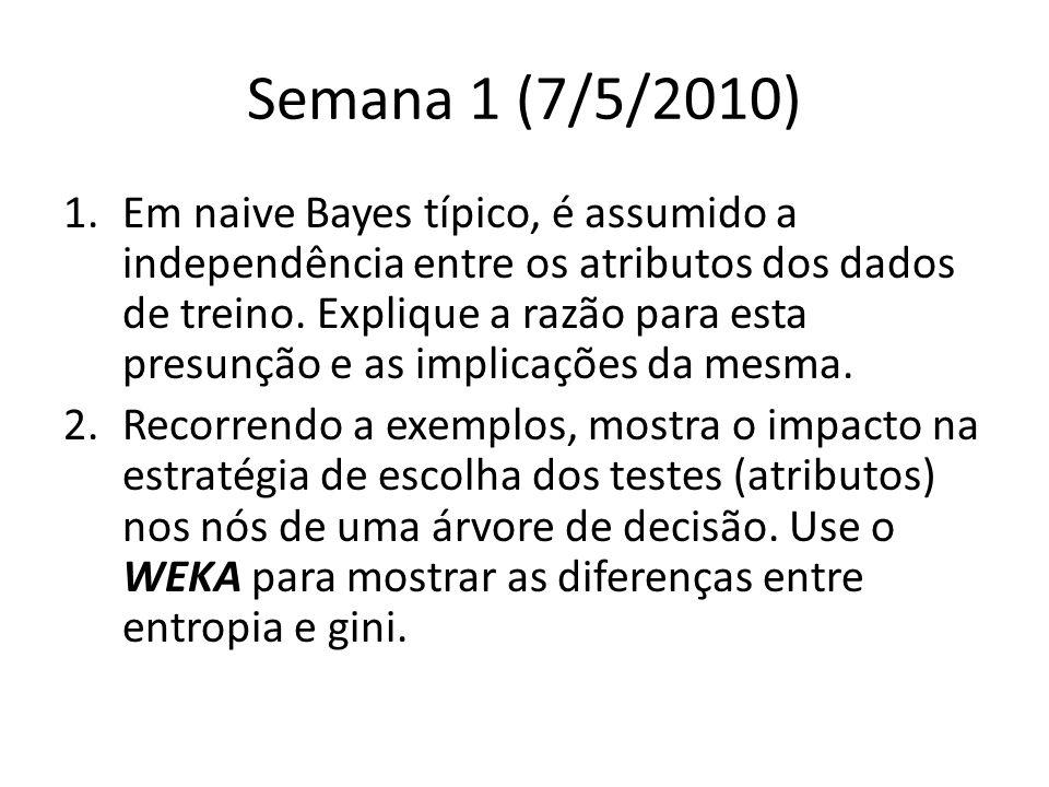 Semana 1 (7/5/2010) 1.Em naive Bayes típico, é assumido a independência entre os atributos dos dados de treino.
