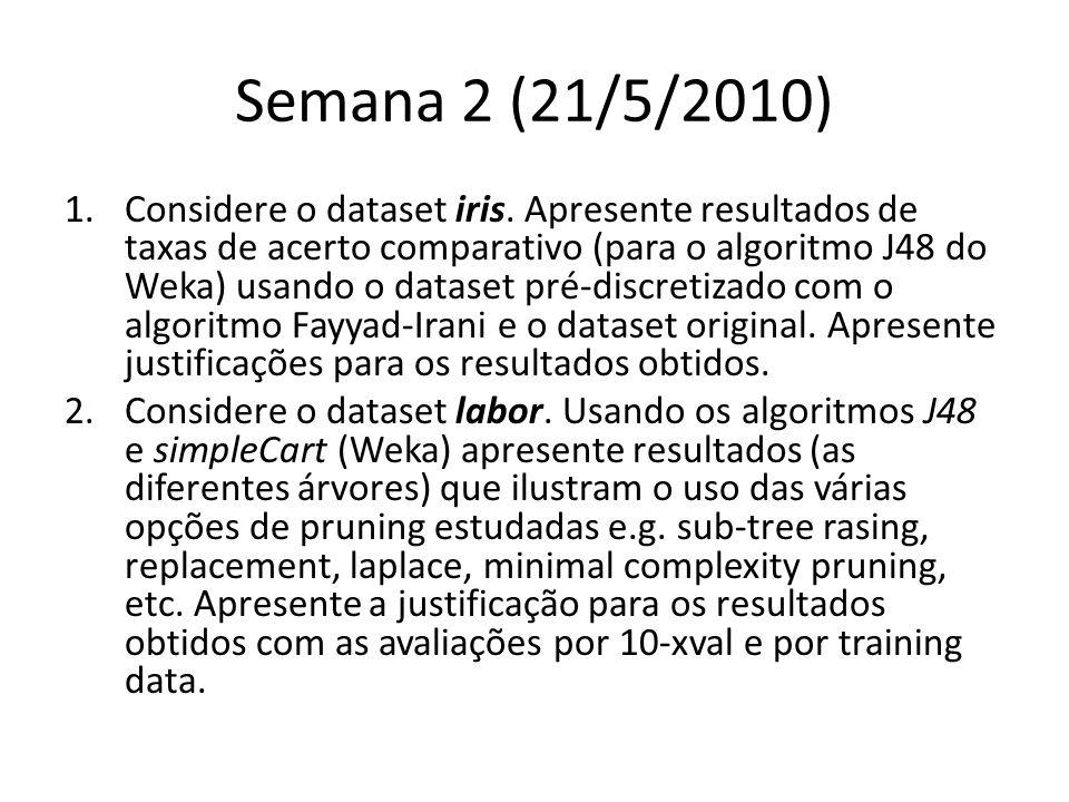 Semana 2 (21/5/2010) 1.Considere o dataset iris.