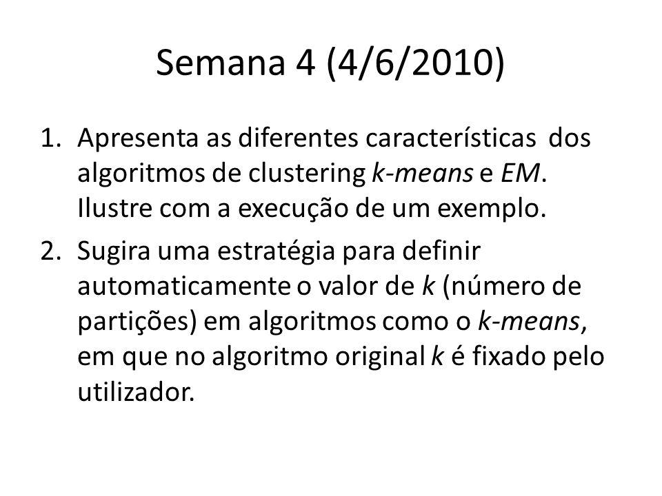 Semana 4 (4/6/2010) 1.Apresenta as diferentes características dos algoritmos de clustering k-means e EM.